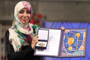 This is Tawakkol Karman. She won the Nobel Peace Price in 2011 for her work for womens rights.